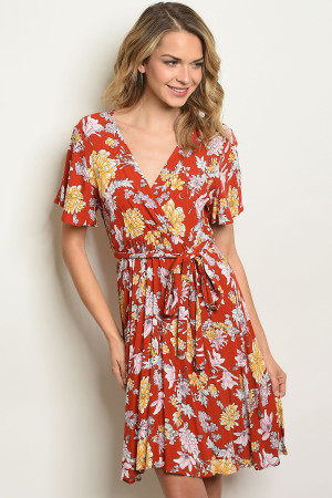 S15-12-4-D62311 EARTH FLORAL DRESS 2-2-2