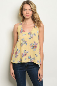 S11-19-4-T6384 YELLOW FLORAL TOP 2-2-2