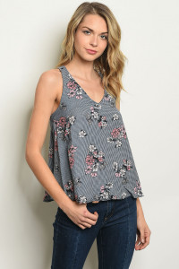 S17-2-3-T6384 NAVY FLORAL TOP 1-1-1