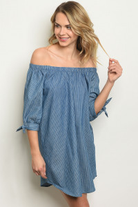 S4-2-1-D5594 BLUE DENIM STRIPES DRESS 2-2-2