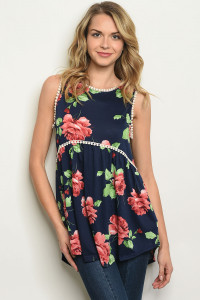S11-11-5-T17826 NAVY FLORAL TOP 2-2-2