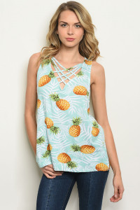 S22-12-4-T17907 MINT WHITE PINEAPPLE PRINT TOP 2-2-2
