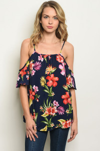 S22-12-4-T17882 NAVY FLORAL TOP 2-2-2