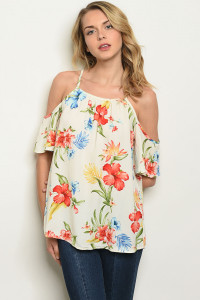 S11-11-5-T17882 IVORY FLORAL TOP 2-2-2