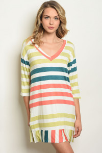 S11-11-5-T17595 IVORY MULTI STRIPES DRESS 2-2-2