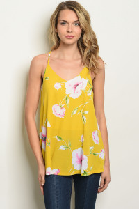 S11-12-5-T17874 YELLOW FLORAL TOP 2-2-2