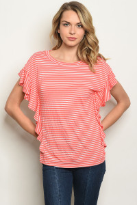 S11-12-5-T17822 CORAL IVORY STRIPES TOP 2-2-2