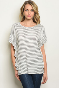 S11-12-5-T17822 IVORY BLACK STRIPES TOP 2-2-2