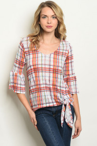S21-12-5-T17566 WHITE RED CHECKERED TOP 2-2-2