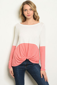 S16-12-1-T17562 IVORY CORAL STRIPES TOP 2-2-2