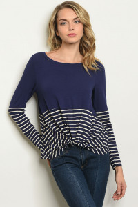 S9-19-3-T17562 NAVY CREAM STRIPES TOP 2-2-2