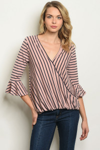 S11-19-5-T18324 MAUVE NAVY STRIPES TOP 2-2-2-2