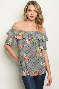 S11-19-5-T17945 BLACK IVORY FLORAL TOP 2-2-2