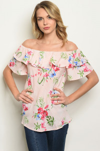 S11-19-5-T17945 PINK IVORY FLORAL TOP 2-2-2