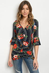 S11-13-4-T17598 NAVY STRIPES FLORAL TOP 2-2-2