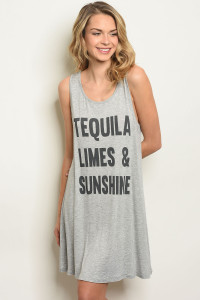 "C85-A-1-T4365 GRAY ""TEQUILA LIMES & SUNSHINE"" PRINT DRESS 3-2-2"