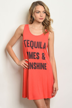 "C88-A-6-T4365 ORANGE ""TEQUILA LIMES & SUNSHINE"" PRINT DRESS 2-2-2"