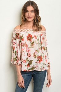 S22-9-5-T1761 BLUSH FLORAL OFF SHOULDER TOP 2-2-2
