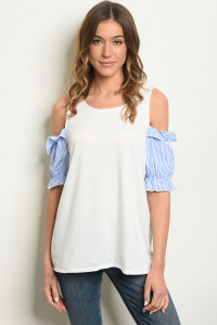 S10-18-4-T10390 OFF WHITE BLUE TOP 2-2-2