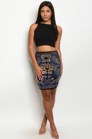 S21-9-1-S7469 BLACK ROYAL WITH STUDS SKIRT 2-2-2
