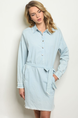 S11-13-1-D096 BLUE DENIM STRIPES DRESS 2-2-2