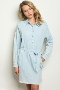 S20-10-1-D096 BLUE DENIM STRIPES DRESS 2-2