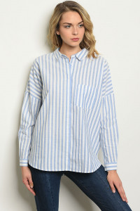 S20-11-1-T717 BLUE WHITE STRIPES TOP 4-2-1
