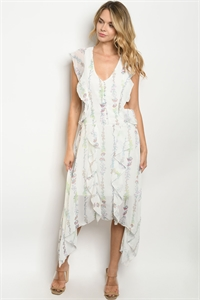 S20-12-3-D18073 OFF WHITE FLORAL DRESS 1-4