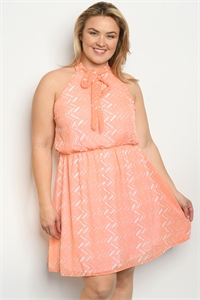 C87-A-3-D1692X CORAL IVORY PLUS SIZE DRESS 2-2-2