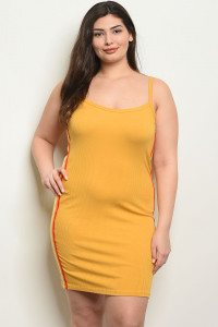 C71-A-2-D1757X MUSTARD RED PLUS SIZE DRESS 2-2-2