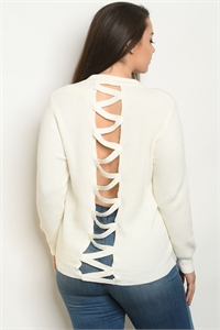 S5-1-1-S9851X OFF WHITE PLUS SIZE SWEATER 2-2-2