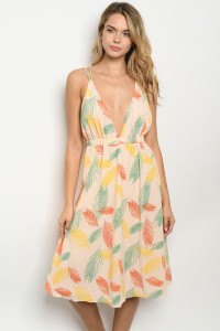 S13-2-4-D32320 PEACH WITH LEAVES PRINT DRESS 3-2-1