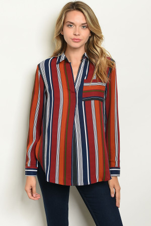 S5-1-2-T10254 NAVY WINE STRIPES TOP 2-2-2