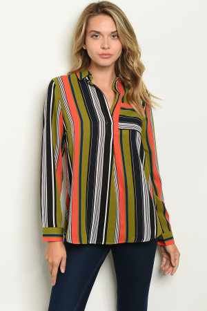 S5-1-2-T10254 CORAL OLIVE STRIPES TOP 2-2-2