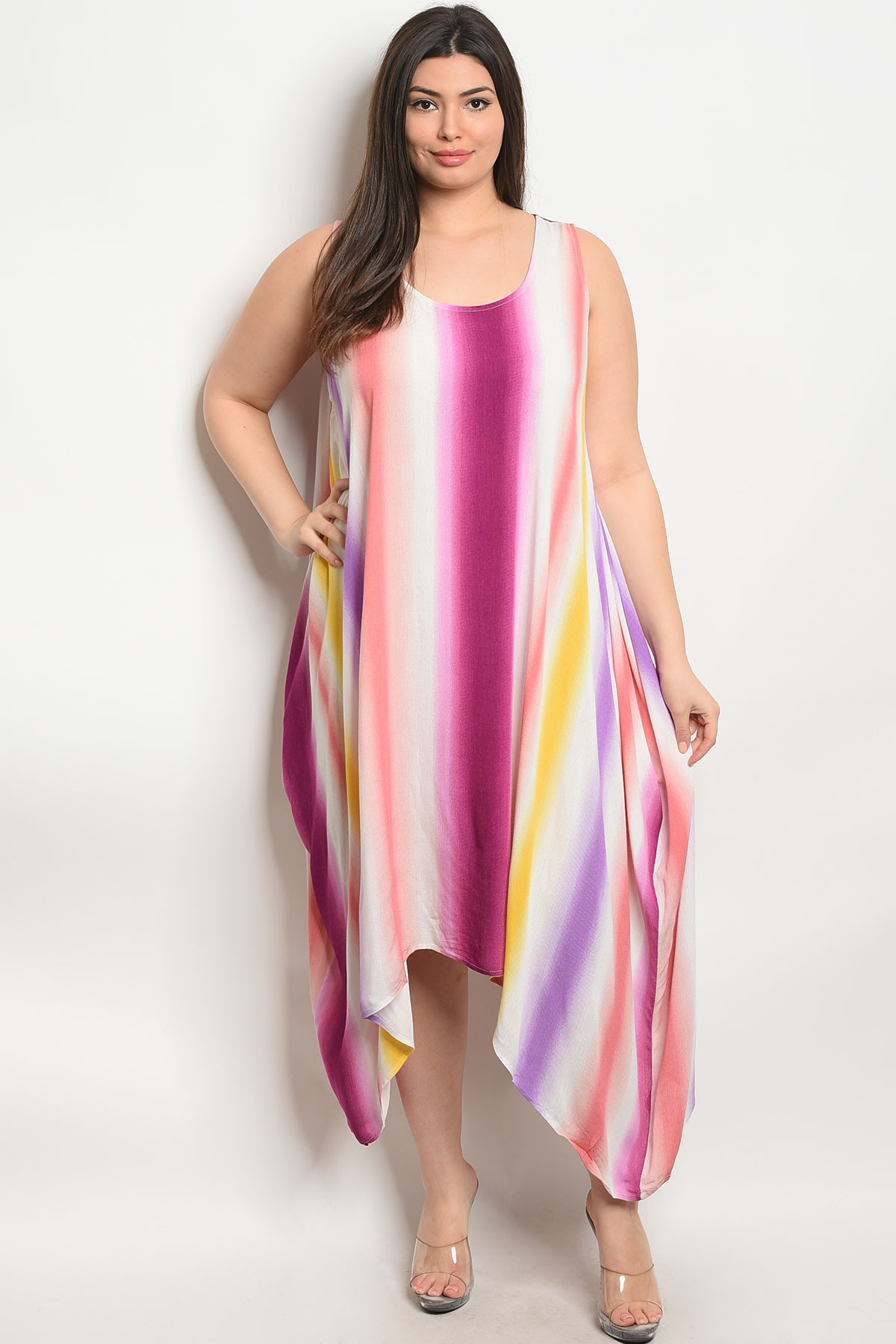 S9-19-3-D4298X PLUM YELLOW PLUS SIZE DRESS 1-2-2