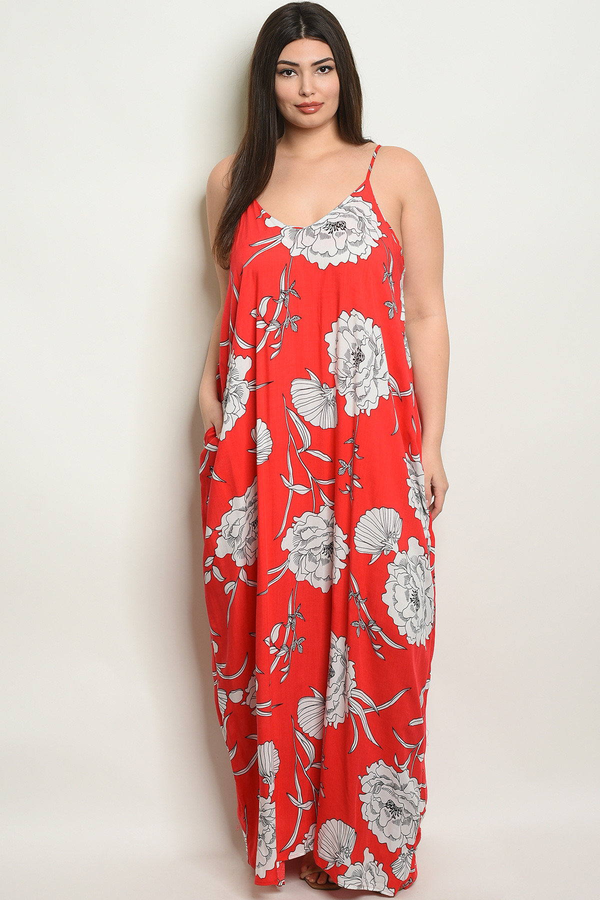 S13-8-1-D5060X RED WHITE FLORAL PLUS SIZE DRESS 2-2-2