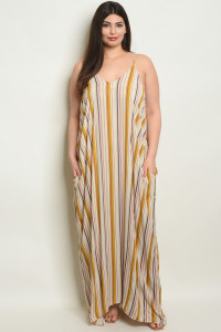 S9-20-4-D5060X MUSTARD CORAL STRIPES PLUS SIZE DRESS 2-2