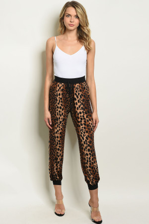 C67-A-6-P1463 BROWN LEOPARD PRINT PANTS 2-2-2