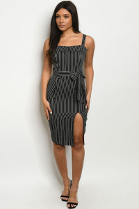 S21-6-1-D71519 BLACK STRIPES DRESS 2-2-2