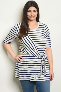 C75-A-2-T2088X OFF WHITE NAVY STRIPES PLUS SIZE TOP 2-2-2