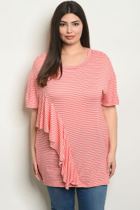C77-A-2-T3054X CORAL WHITE STRIPES PLUS SIZE TOP 2-2-2