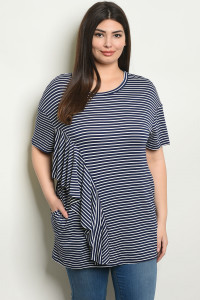 C71-A-2-T3054X NAVY WHITE STRIPES PLUS SIZE TOP 2-2-2