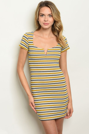 S13-7-3-D80243 MUSTARD BLACK STRIPES DRESS 3-2-1