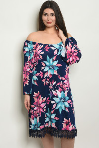 S13-7-5-D9000X NAVY BLUE FLORAL PLUS SIZE DRESS 2-2-2