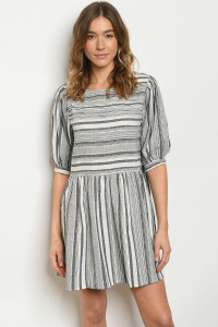 S21-8-3-D3465 CHARCOAL WHITE DRESS 2-2-2