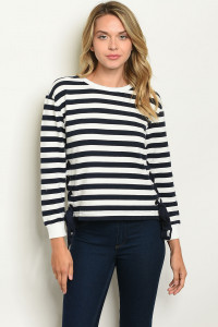 S20-7-2-T3505 NAVY WHITE STRIPES TOP 2-2-2