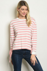 S17-11-2-T3505 MAUVE WHITE STRIPES TOP 1-1-1