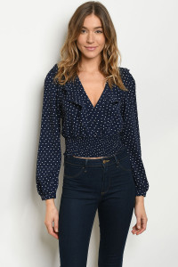 S21-9-3-T29593 NAVY WITH DOTS TOP 2-2-2