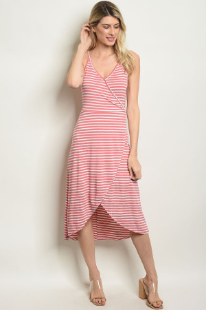 S25-3-5-D20093 CORAL WHITE STRIPES DRESS 2-2-2