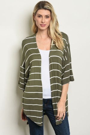 S24-7-5-C50060 OLIVE WHITE STRIPES CARDIGAN 2-2-2